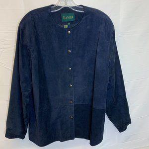Vintage Womens Danier Blue Suede Leather Button U